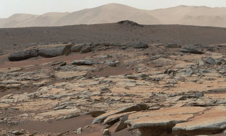 An image taken by Nasa's Curiosity Mars rover showing an area on Mars named Glenelg.