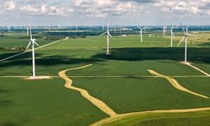 A wind farm near Fowler, Indiana.