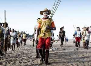 Madagascar. Groups of young boys in traditional dress. Sambatra, an event celebrated by some of the south-eastern tribes of Madagascar once every seven years. The boys of the tribe are circumcised and thus welcomed to the father's family.