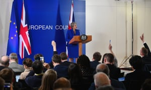 Theresa May at a news conference after presenting her case for a delay to Brexit