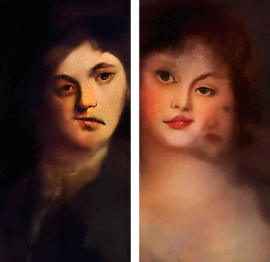 Composite of two 2018 Mario Klingemann portraits: Portrait of a Woman (r) and Portrait of a Man (l).