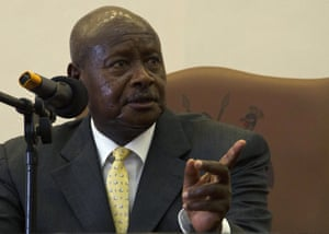 Uganda's president, Yoweri Museveni, speaks after he signed the Anti-Homosexuality Bill on February 24, 2014 in Entebbe.