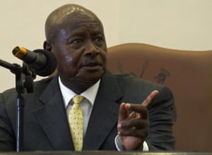 Uganada's president Yoweri Museveni  in power since 1986, is accused of presiding over a personal dictatorship dressed in democratic garb with flawed elections and endemic corruption.