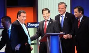 No Trump, no problem ... John Kasich, Marco Rubio, Jeb Bush and Ted Cruz.