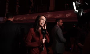 Labour Party leader and New Zealand Prime Minister Jacinda Ardern speaks to media after claiming victory during the Labor Party election night function