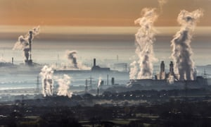 Steam rises from Deeside power station, Shotton Steelworks and other heavy industrial plants