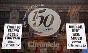 Archive image of a window display at the Oldham Evening Chronicle celebrating its 150th anniversary in 2004