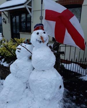 Fuchsia Harmon's snowmen she built with her dad.