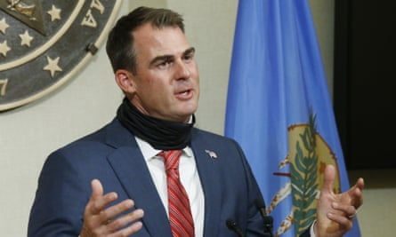 Stitt insisted that he had not changed his mind on issuing a statewide mandate for wearing masks. He said: 'We respect people's rights not to wear a mask.'