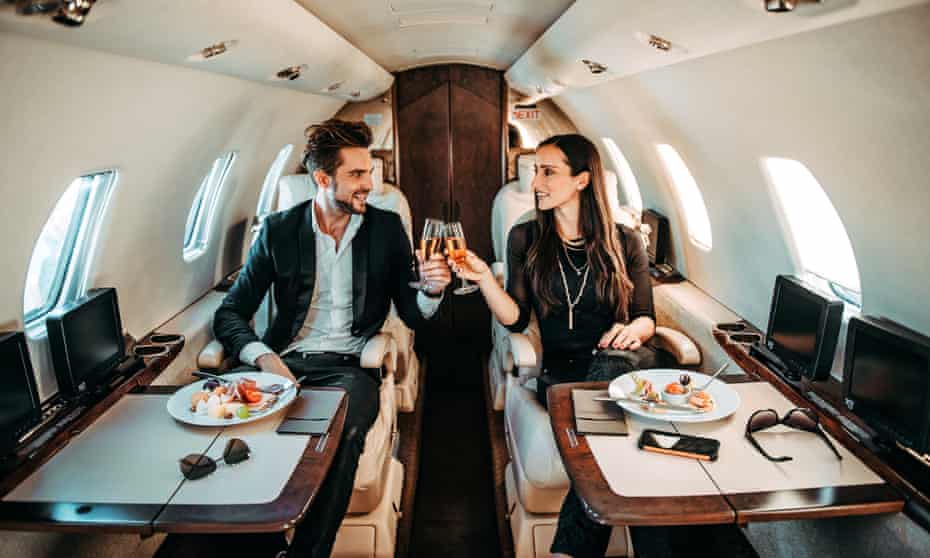 Private jets emit about 20 times more carbon dioxide per passenger mile than commercial flights, according to industry data