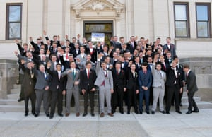 A school district in Wisconsin said the First Amendment prevented it from punishing students in this picture, in which many are making what appears to be a Nazi salute.