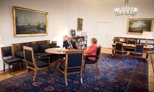 German Chancellor Angela Merkel meeting with President Frank-Walter Steinmeier today.