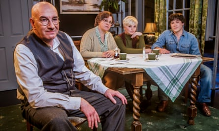 Simon Day as Alf Garnett, Lizzie Roper as Else, Sydney Rae White as Rita and Carl Au as Mike as they star in an episode of Till Death Us Do Part.
