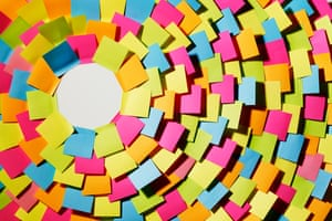 Lots of Post-it notes extending out in circles from a white centre
