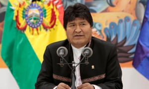 Evo Morales speaks during a news conference at the presidential palace in La Paz, Bolivia, on 23 October.