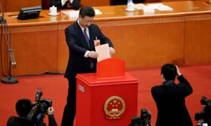 Xi Jinping votes on a constitutional amendment lifting presidential term limits