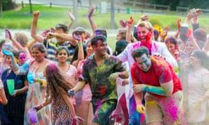 A film still from unINDIAN depicting a celebration of Holi festival in Sydney.
