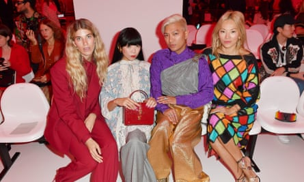 Veronika Heilbrunner, Susie Lau, Bryanboy and Tina Leung attend the Gucci show during Milan Fashion Week Spring/Summer 2020 on September 22, 2019 in Milan, Italy.