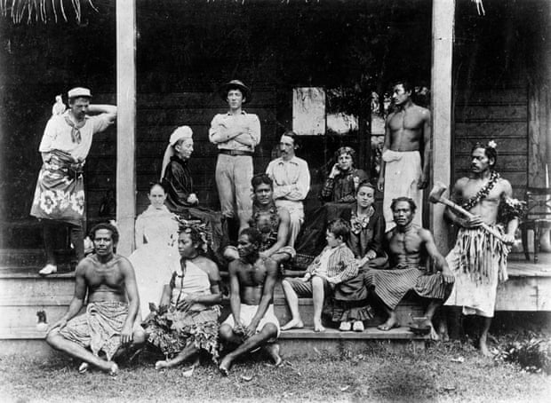 Real-world vision … Stevenson, seated centre, with the Vailima household.
