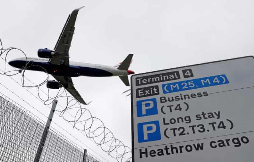An airplane landing at Heathrow.