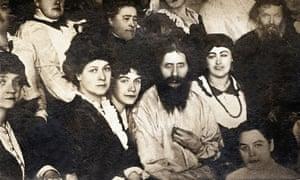 Grigori Rasputin among his followers, circa 1907.