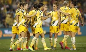 Sam Kerr of the Matildas celebrates scoring a penalty