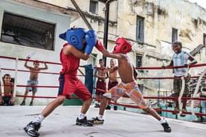 Training in the outdoor boxing gym Rafael Trejo in Old Havana