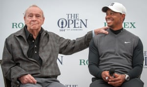 15 July 2015. Tiger Woods and Palmer at the British Open at St Andrews.