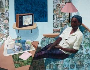 Super Blue Omo, 2016 by Njideka Akunyili Crosby.