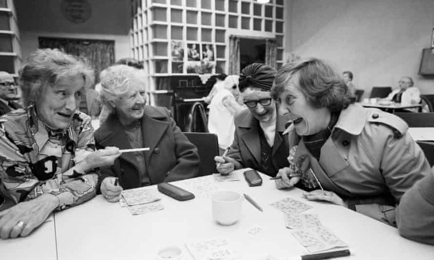 Shirley Williams, right, joining a bingo session at the pensioners' club in Crosby, Merseyside, 1981.