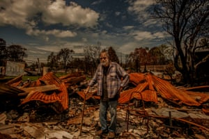 """Duncan Finlay at his Betka Road home. """"This is a shambles, [the bushfire] was so avoidable, we knew it was going to come. It should have been acted on straight away,"""" he says."""