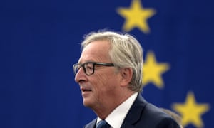The president of the European commission, Jean-Claude Juncker, arrives to make his state of the union address to the European parliament in Strasbourg,