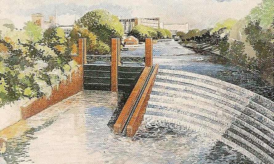 Artist's impression of the weir, from Bristol Development Corporation publicity material, 1991.