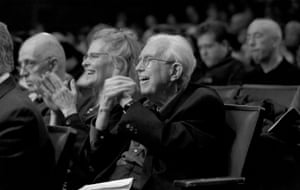 Elliott Carter, centre, with Carol Archer at the Kaufmann Concert Hall in New York, 2011.