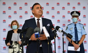Acting NSW premier John Barilaro addresses the media in Sydney on Monday to give the daily Covid update