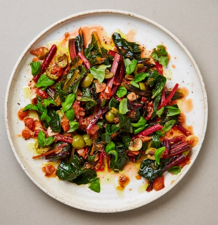 Yotam Ottolenghi's rainbow chard with tomatoes and green olives.
