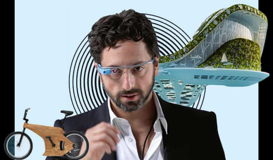 Composite showing oak recycled bike, Sergey Brin modelling Google Glass and a floating city
