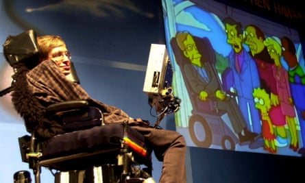 Stephen Hawking beside an image of The Simpsons