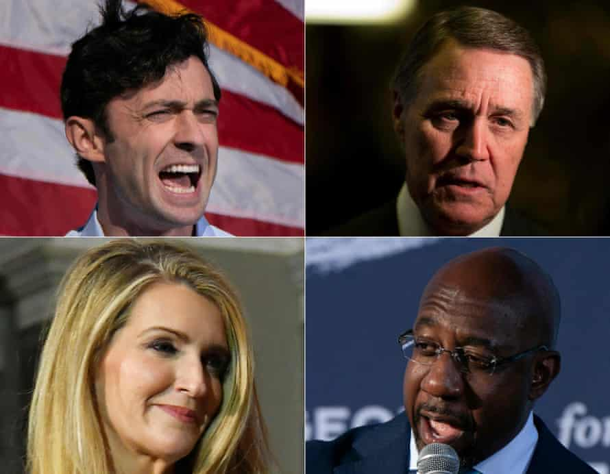 (Clockwise from top left): Jon Ossoff, David Perdue, Raphael Warnock and Kelly Loeffler.