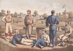 A print from 1870 titled New York Fashions, showing men modelling baseball uniforms