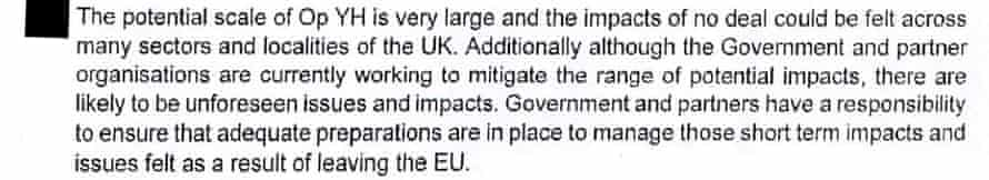 'Unforeseen issues and impacts' of a no-deal Brexit are highlighted by the document