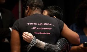 Actress Rose Mcgowan (right) hugs Tarana Burke, Founder of the hashtag #Metoo