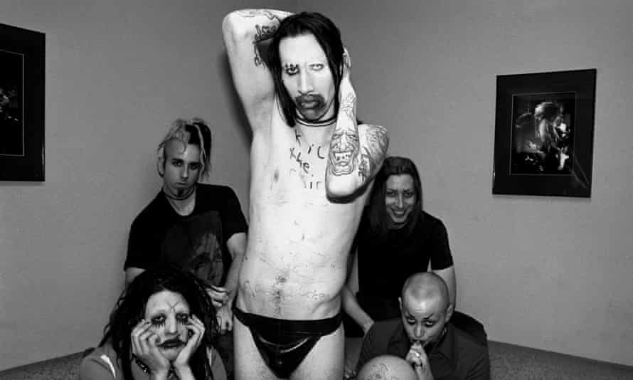 Marilyn Manson pictured in 1995, with Ramirez bottom left, Putesky top right.