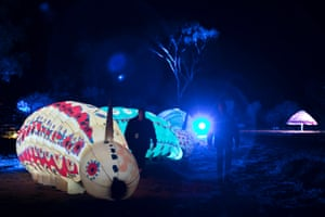 'Yeperenye Tales' is a series of three inflated caterpillars decorated by students from Amoonguna School in Alice Springs.