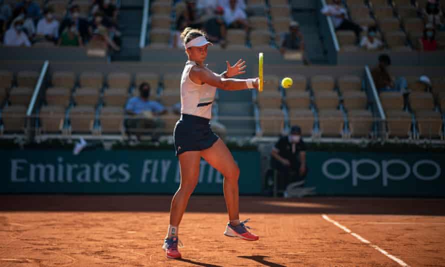 Barbora Krejcikova of the Czech Republic hits a forehand against Maria Sakkari