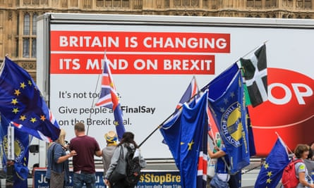 An anti-Brexit protest outside the Palace of Westminster this month.
