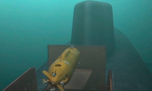 A screengrab take from Russian promotional video footage shows a submarine launching an unmanned nuclear-power submersible, part of the range of weapons announced by Vladimir Putin.