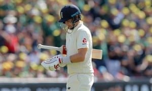 England captain Joe Root looks dejected as he heads back to the pavilion after getting out for a duck.