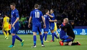 Leicester City's Kasper Schmeichel celebrates with Daniel Amartey after the game.