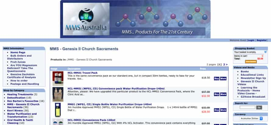 Screenshot of the website of The Australian chapter of the Genesis II Church of Health and Healing selling industrial bleach